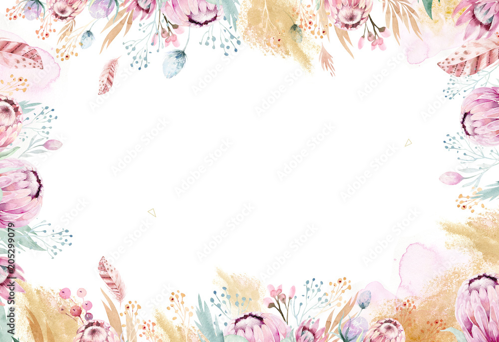 Fototapety, obrazy: Hand drawing isolated watercolor floral illustration with protea rose, leaves, branches and flowers. Bohemian gold crystal frames. Elements for greeting wedding card.