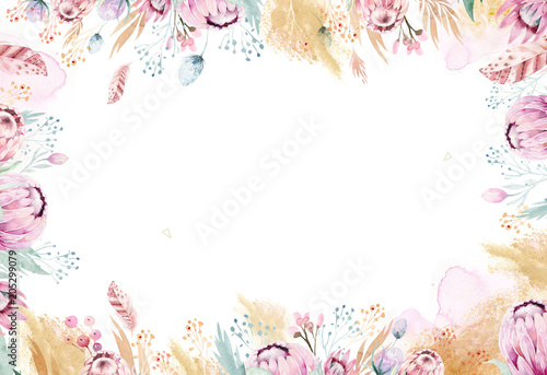 Fototapeta Hand drawing isolated watercolor floral illustration with protea rose, leaves, branches and flowers. Bohemian gold crystal frames. Elements for greeting wedding card. obraz