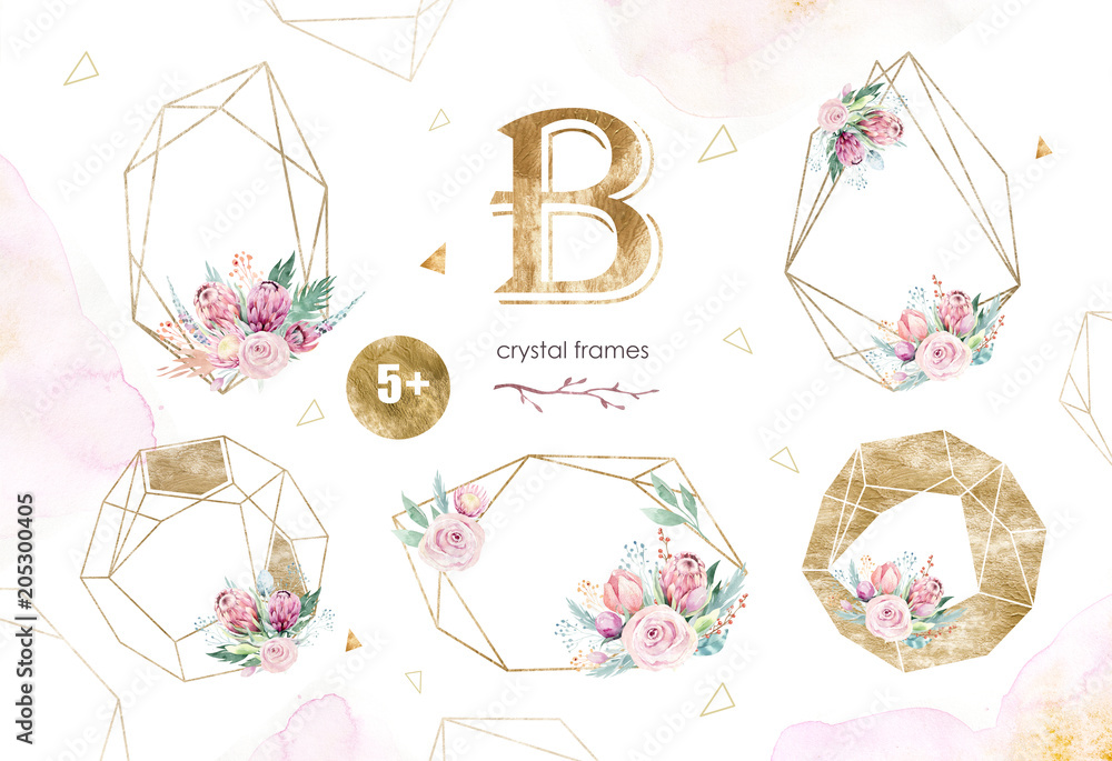 Fototapeta Hand drawing isolated watercolor floral illustration with protea rose, leaves, branches and flowers. Bohemian gold crystal frames. Elements for greeting wedding card.