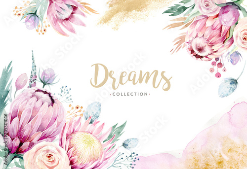 Photo  Hand drawing isolated watercolor floral illustration with protea rose, leaves, branches and flowers