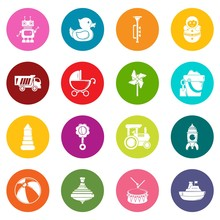 Kids Toys Icons Set Vector Colorful Circles Isolated On White Background