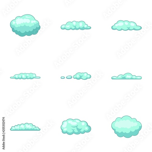 Cumulus Cloud Icons Set Cartoon Set Of 9 Cumulus Cloud Vector Icons