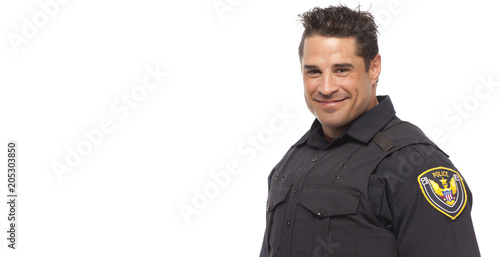 Fotografie, Obraz  Smiling police man against white