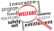 canvas print picture - Welfare Magnifying Glass Government Entitlements Words 3d Render Illustration