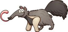 Cartoon Anteater With Tongue Out. Vector Clip Art Illustration With Simple Gradients. All In A Single Layer Layer.