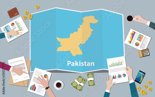 pakistan country growth nation team discuss with fold maps view from