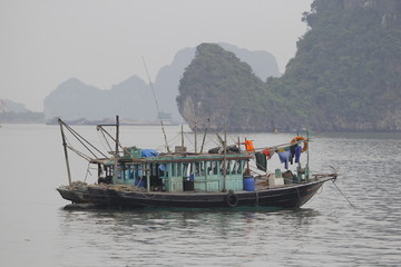 Ha Long Bay , Vietnam-29 November 2014:Fishing boat in Ha long Bay, Panoramic view of sunset in Halong Bay, Vietnam, Southeast Asia,UNESCO World Heritage Site