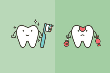 compare of healthy white tooth with brushing teeth and unhealthy decayed tooth from sweet and candy - dental cartoon vector flat style