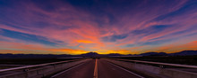 MARCH 12, 2017, LAS VEGAS, NV - Highway Overpass Above Interstate 15, South Of Las Vegas, Nevada At Sunset With Yellowline