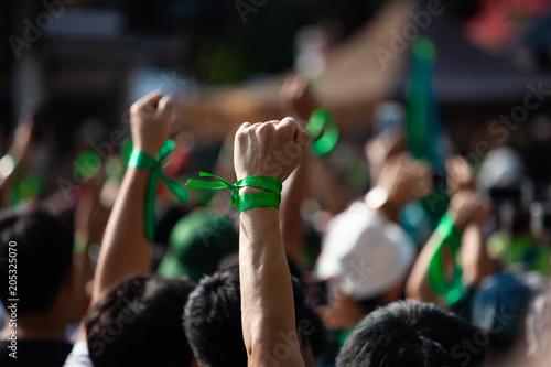 Fototapeta People raised hand air fighting for protest obraz