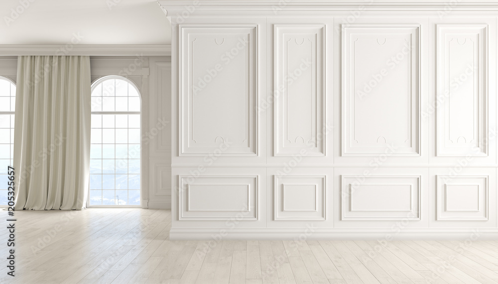 Fototapeta Classic empty interior with white wall, wood floor, window and curtain.