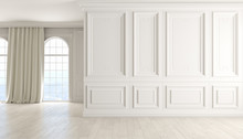 Classic Empty Interior With White Wall, Wood Floor, Window And Curtain.