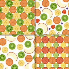 FototapetaFruit seamless patterns set. Vector illustration. Flat design.