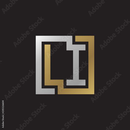 Initial letter LI, looping line, square shape logo, silver gold color on black b Wallpaper Mural