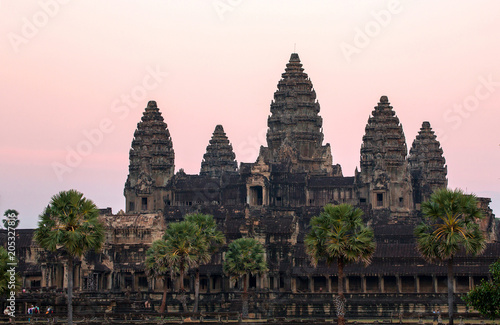 The atmosphere and atmosphere of the morning at Angkor Wat. Poster