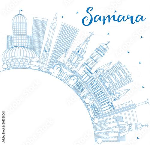 Staande foto Schilderingen Outline Samara Russia City Skyline with Blue Buildings and Copy Space.