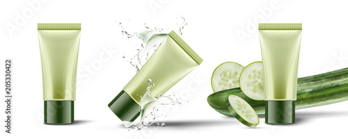 Set of cucumber cosmetic product Canvas Print
