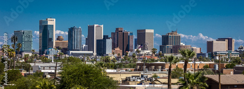 AUGUST 23, 2017 - PHOENIX ARIZONA - Panoramic skyline view of Phoenix downtown