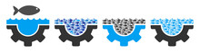 Fish Water Service Gear Vector Illustration Set With Collage Elements Filled By Fish Icons In Blue And Gray Colors. Flat Eco Style With Mosaic Items.