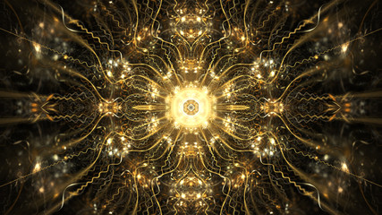 Abstract intricate symmetrical golden ornament. Fantastic fractal mandala. Psychedelic digital