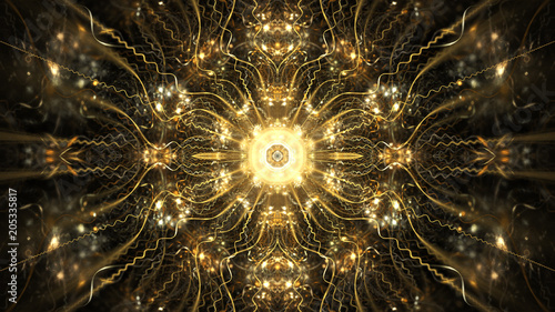 Photo  Abstract intricate symmetrical golden ornament