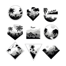 Collection Of Monochrome Geome...