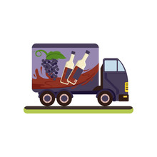 Wine Delivery Service Truck Vector Illustration On A White Background