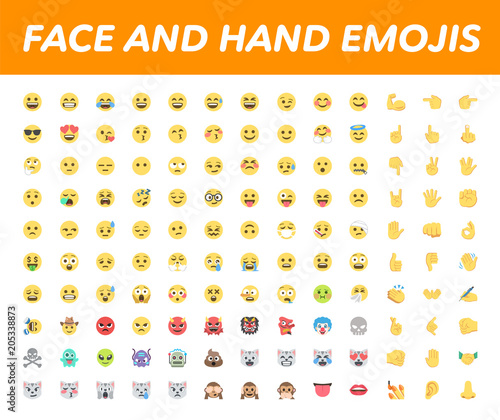 All basic face and hand emojis, emoticons, emotions flat vector illustration symbols. Hands, faces, feelings, situations, shy, embarrassed, smile, mood, joke, lol, laugh, cry, happy, smileys icons set