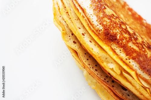 In de dag Macrofotografie A stack of pancakes with white copy space. Closeup, selective focus