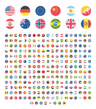 All Countries World Rounded Circle Flat Design Flags, Symbols, Emoticons, Icons. Emoji Flag Buttons, Screen, Display, Website Flag Collection, Set, Stickers.