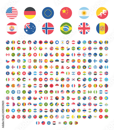 Fototapeta All countries world rounded circle flat design flags, symbols, emoticons, icons. Emoji flag buttons, screen, display, website flag collection, set, stickers. obraz