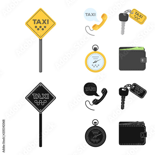 Staande foto Cartoon cars Handset with the inscription of a taxi, car keys with a key fob, a stopwatch with a fare, a purse with money, dollars. Taxi set collection icons in cartoon,black style vector symbol stock illustration