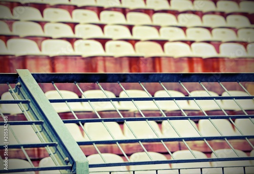 Foto op Plexiglas Stadion metal mesh in the stadium to divide the fans with old vintage effect