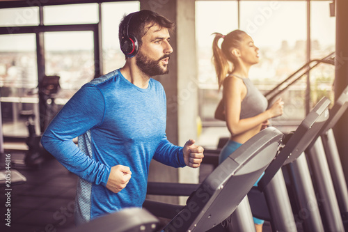 Fototapeta Treadmill exercise.