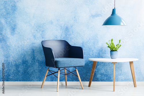Fotobehang Zeilen Simple blue living room interior