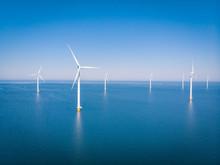 Drone View At An Windmill Farm At Sea