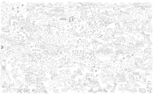 Summer In The Village. Coloring. Poster Of A Large Size. Wimmelbuch. Black And White Image. Out-of-town Life, A Summer Residence, A Garden, Gardening, Housekeeping, A Farm, A Hike, Pastime.