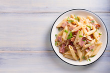 Penne Pasta With Bacon And Sun...