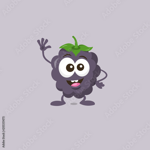 Fotografija  Illustration of cute happy dewberry mascot greeting someone with big smile isolated on light background