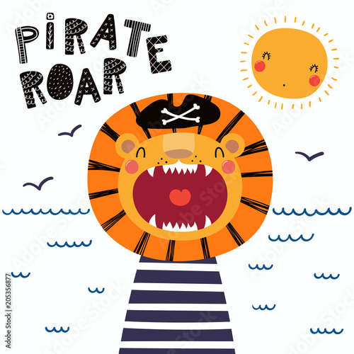 Printed kitchen splashbacks Illustrations Hand drawn vector illustration of a cute funny lion pirate in a tricorn hat, with lettering quote Pirate roar. Isolated objects. Scandinavian style flat design. Concept for children print.