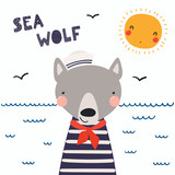 Hand drawn vector illustration of a cute funny wolf sailor in a cap and neckerchief, with lettering quote Sea wolf. Isolated objects. Scandinavian style flat design. Concept for children print. - 205359450