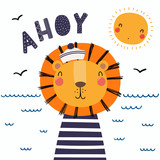 Hand drawn vector illustration of a cute funny lion sailor in a cap and striped shirt, with lettering quote Ahoy. Isolated objects. Scandinavian style flat design. Concept for children print. - 205359488