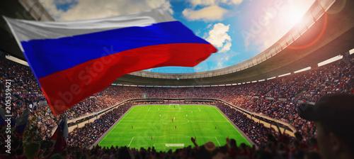 Plakat zatłoczony stadion z rosyjską flagą