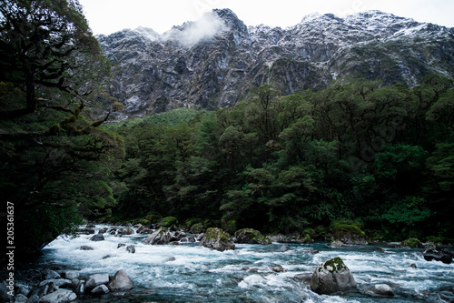 A blue glacier river among the nature with snow mountain.