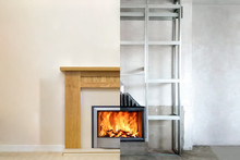Modern Fireplace In The Apartment Interior With Real Fire. Process Installation
