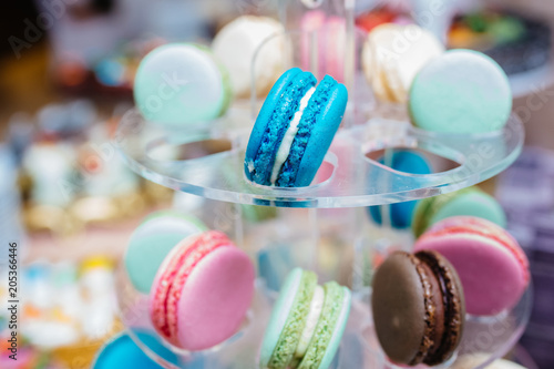 Staande foto Macarons Wedding candy bar, beautiful and tasty cakes, macarons