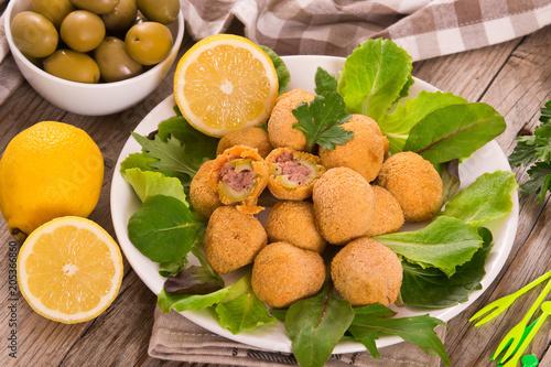 Foto op Plexiglas Buffet, Bar Ascoli stuffed olives.