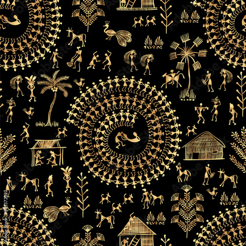seamless warli tribal art Canvas
