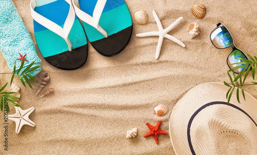 Fotobehang Stof Sea Shells on Sand. Summer Beach Background