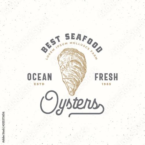 Fotografija Ocean Fresh Oysters Abstract Vector Sign, Symbol or Logo Template